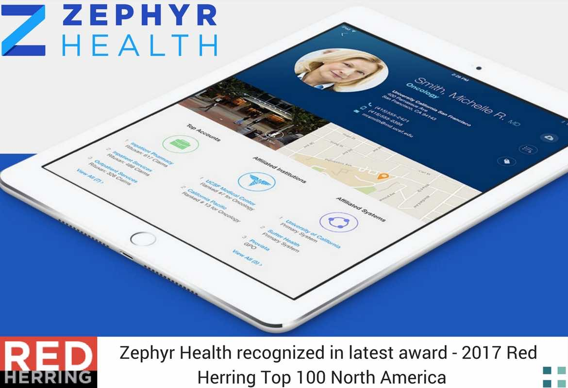Zephyr Health recognized in latest award - 2017 Red Herring Top 100 North America per Media For Health