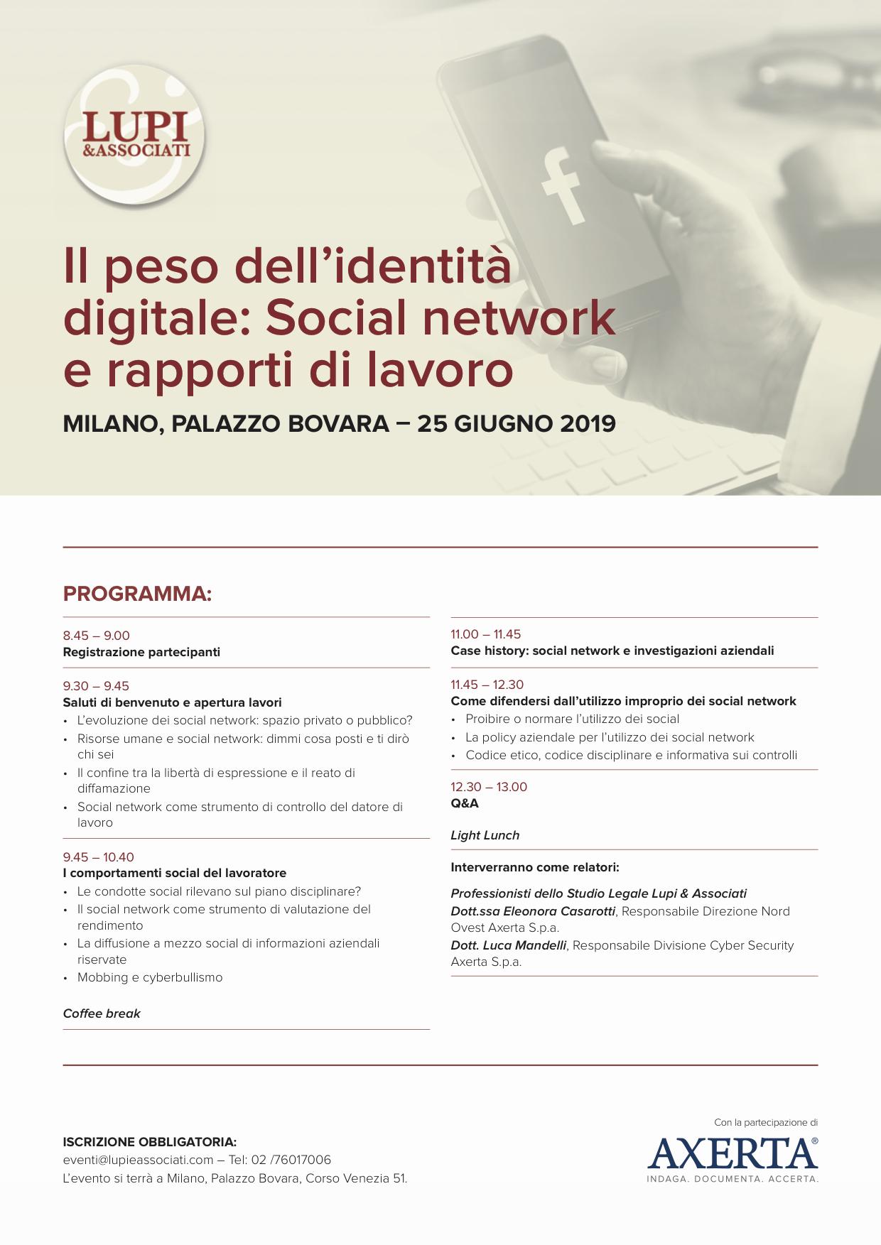 Social media e rapporti di lavoro workshop lupi 25 giugno